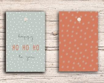 10 x Happy HO HO HO - Gift Tag Hangtags 5,5 x 8,5 cm with perforation