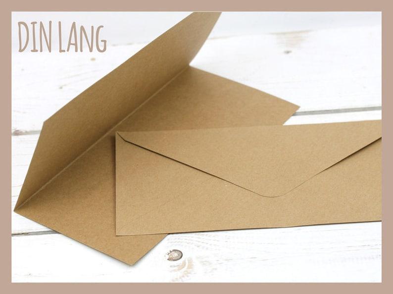 10 Klappkarten Briefumschläge Din Lang Kraftpapier Etsy