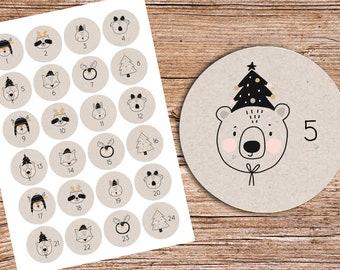 24 Advent stickers with animals for children KRAFT 40 mm