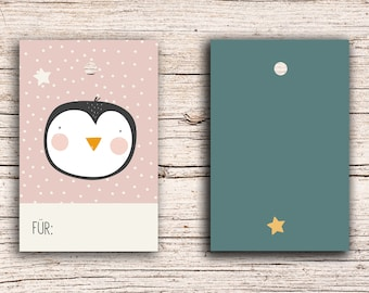 10 x Penguin - For... - Gift Tag Hangtags 5,5 x 8,5 cm with perforation