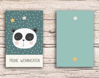 10 x Merry Christmas Panda - Gift Tag Hangtags 5,5 x 8,5 cm with perforation