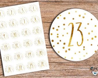 24 Advent stickers yellow look dotted calendar 4 cm diameter