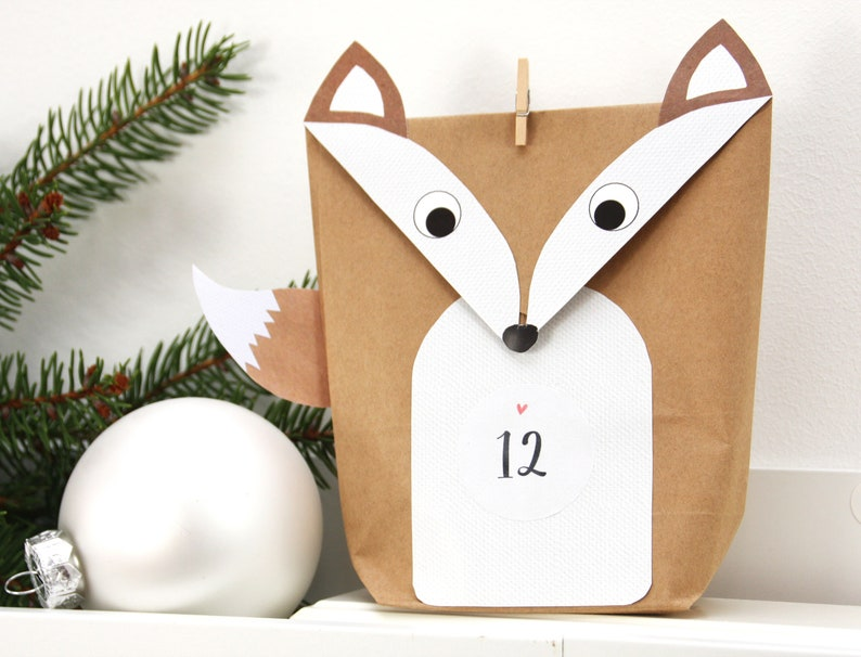 Advent Calendar Foxes DIY WHITE for Men Kids with Brackets image 0