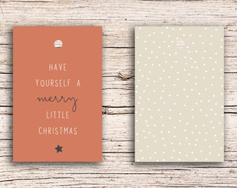 10 x Have yourself a merry little Christmas - Gift Tag Hangtags 5,5 x 8,5 cm with perforation
