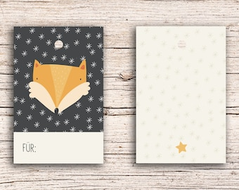 10 x Fox - For... - Gift Tag Hangtags 5,5 x 8,5 cm with perforation