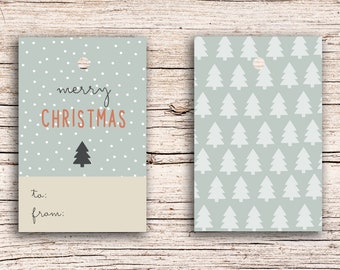10 x Merry Christmas - Gift Tag Hangtags 5,5 x 8,5 cm with perforation