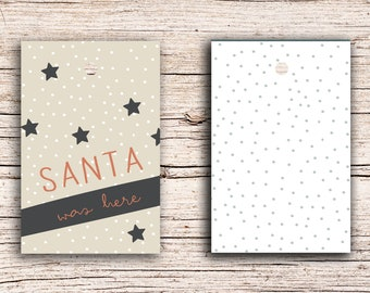 10 x Santa was here - Gift Tag Hangtags 5,5 x 8,5 cm with perforation