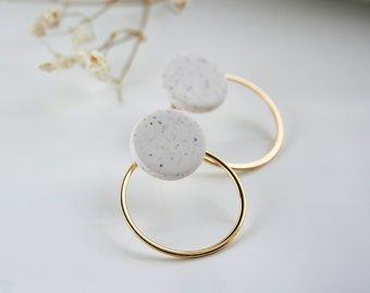 EARRING in polymer clay for woman, handmade polymer clay cercle many colors available  with gold plated or silver cercle ear jacket.