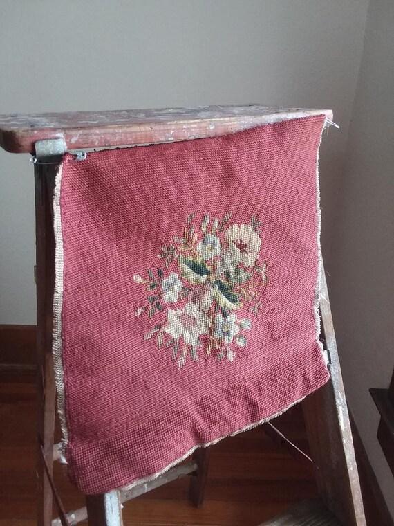 antique floral needlepoint  13 x 12 rustic unframed primitive  gift 1920s  jazz era handmade bedroom vintage birthday gift brown rust