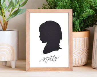 Papercut Silhouette Hand Drawn from your Photo - Personalize with your Child's Name and/or Date. Gift Idea for Mom and Grandma.