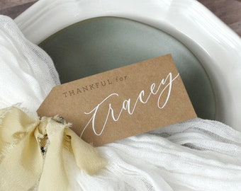 Thankful For Personalized Placecards, Thanksgiving Tags, Handwritten Calligraphy Name Cards, Place cards, Gift Tags, Place Setting