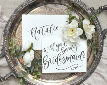 Watercolor Will You Be My Bridesmaid Cards with Addressed Envelopes. Bridesmaid Proposal, Handwritten Bridal Party Cards - Bridesmaid Gift