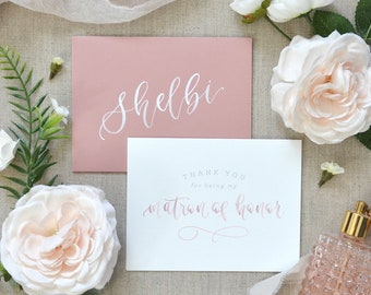 Watercolor Thank You for Being My Bridesmaid Cards with Personalized Envelope. Printed Bridal Party Cards - Maid of Honor Gift