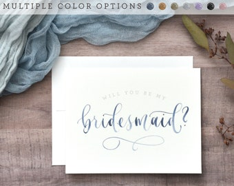 Watercolor Will You Be My Bridesmaid Cards. Printed Bridesmaid Proposal, Handwritten Bridal Party Cards -Bridesmaid Gift, Maid of Honor, Etc