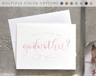 Will You Be My Godmother Card, Godfather Card, Godparents Card - Painted Watercolor Handwritten Godparent Card, Baptism Gift