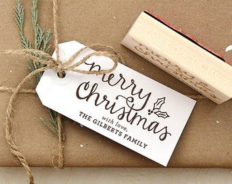 Merry Christmas Handwritten Calligraphy Rubber Stamp with Holly, Personalized for Gift Tags, Personalized Christmas Gift Tag Stamp