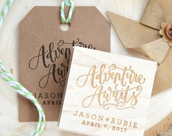 Adventure Awaits Personalized Rubber Stamp, Baby Shower Favor Stamp, Bridal Shower or Wedding Favor Rubber Stamp for Tags and More