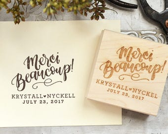 Merci Beaucoup Rubber Stamp for Personalized Wedding Favor Tags w. Names and Wedding Date for Thank You Tags and Gifts