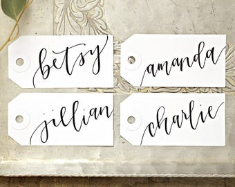 Calligraphy Personalized Gift Tags, Wedding Place cards, Bachelorette Party Name Tags, Handwritten Placecards, Escort Cards, Name Cards