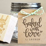 Baked with Love Rubber Stamp, Personalized Baked Goods Wedding Favors Tag with Wedding Date. Baked with Love Stamp for Gift Tags