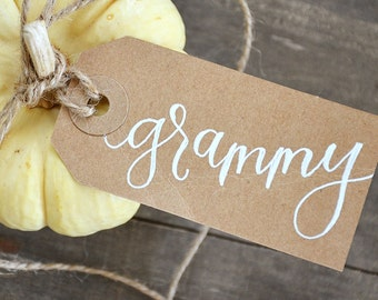 Thanksgiving Handwritten Personalized Name Tags, Calligraphy Place cards