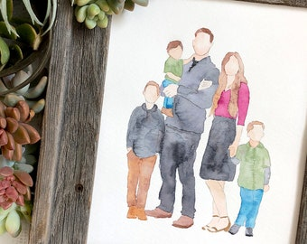 Watercolor Family Portrait, Handpainted Custom Wall Art. Paper Anniversary Gift. First Anniversary. Family Keepsake.