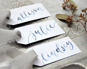 Watercolor Calligraphy Personalized Gift Tags, Wedding Place cards, Bachelorette Party Name Tags, Handwritten Placecards, Escort Cards