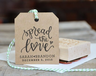 Spread the Love Stamp, Personalized Wedding Favor Rubber Stamp, for Jam Tags with Names and Date