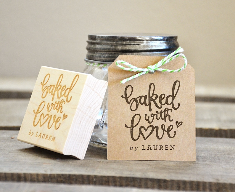 222b0d123d47 Baked with Love Rubber Stamp, Personalized Baked Goods DIY Wedding Favors  and Baking Supplies Gift Tags