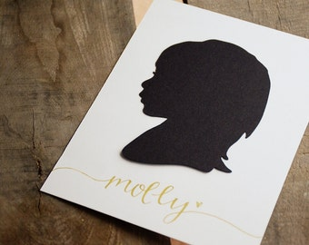 Papercut Silhouette Hand Drawn from your Photo - Personalize with your Child's Name and/or Date