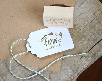 Handmade with Love Rubber Stamp, Handmade by Stamp for Card Making and Crafts, Business and Shop Personalized Custom Name Stamp