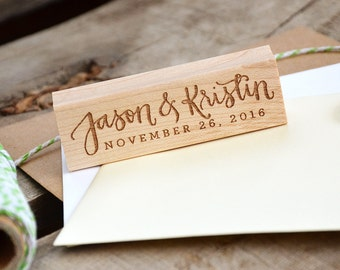 Personalized Handwritten Calligraphy and Digital Text Rubber Stamp, Names with Wedding Date or Last Name