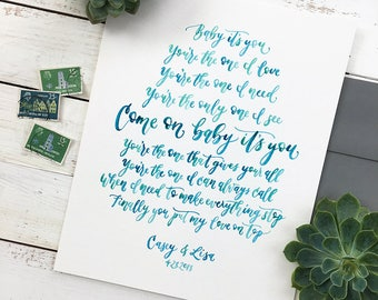 Wedding Vow Art Watercolor Painting. Wedding Vow Keepsake. Hand Lettered Vows, Lyrics, or any Text - Anniversary Gift for Wife or Husband.