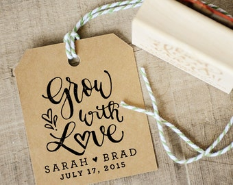Grow with Love Rubber Stamp, With or Without Personalized Name. Wedding Favors Tag with Wedding Date. Seed Packet and Plant Favors