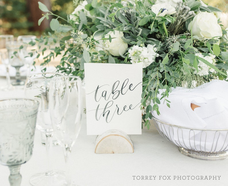 Watercolor Table Numbers Wedding Calligraphy Table Number image 0