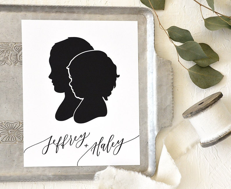 Siblings Papercut Silhouette Drawn from your Photo  image 0
