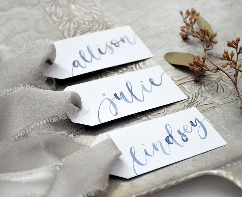 Watercolor Calligraphy Personalized Gift Tags Wedding Place Navy - Indigo