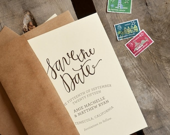 Save the Date, Hand Written Script Rubber Stamp with Names, Date, and Location