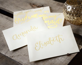 Personalized Glitter and Opaque Embossed, Handwritten Calligraphy Bridal Party Cards - Will You Be My Bridesmaid Invitation, Maid of Honor +