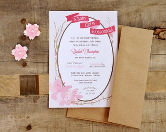 Cherry Blossom Baby Shower Customized Printable Invitation, Digital File
