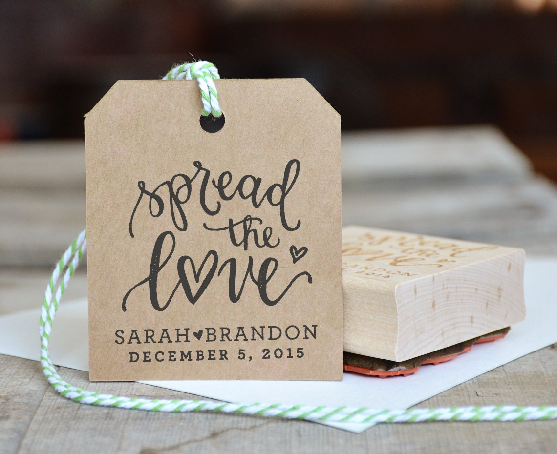 Spread the Love Rubber Stamp Personalized Wedding Stamp for