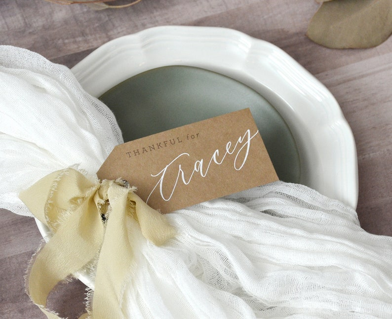 Thankful For Personalized Placecards Thanksgiving Tags image 0