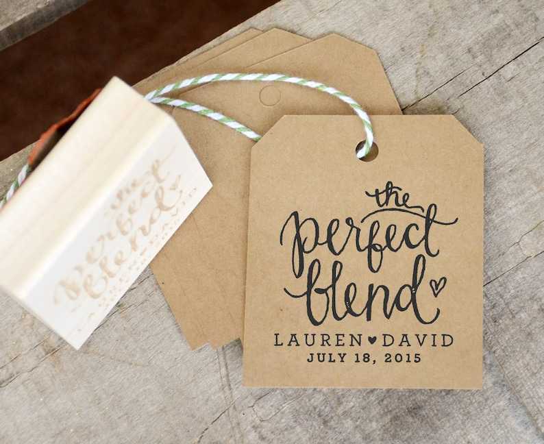 The Perfect Blend Wedding Favor Rubber Stamp Personalized Etsy