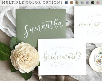 Watercolor Will You Be My Bridesmaid Cards with Personalized Envelope. Printed Bridesmaid Proposal, Bridal Party Cards - Maid of Honor Gift