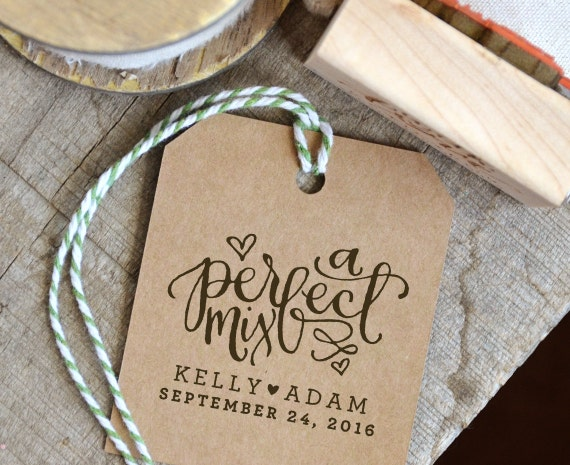 A Perfect Mix Rubber Stamp for Personalized Wedding Favors. | Etsy
