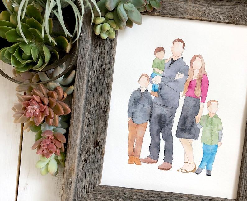 Watercolor Family Portrait Handpainted Custom Wall Art. Paper image 1