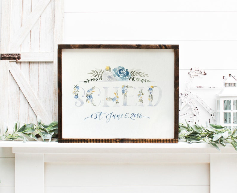 Last Name Sign Watercolor Painting Evergreen or Floral image 0