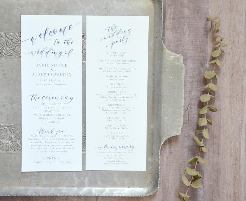 Printed Wedding Ceremony Programs Custom Watercolor Order of image 0