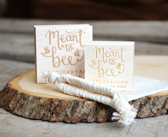 Meant to Bee Rubber Stamp, With or Without Personalized Name. Wedding Favors Tag with Wedding Date