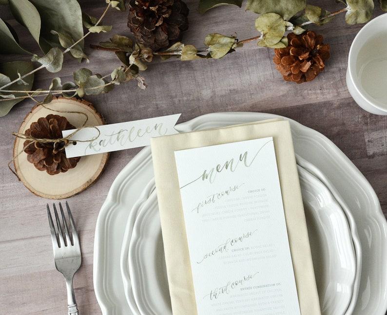 Printed Wedding Reception Menus Custom Watercolor Menu image 0